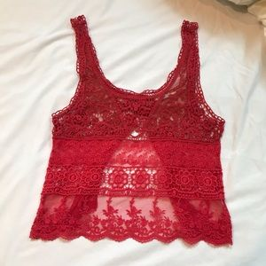 Red lace urban outfitters tank top